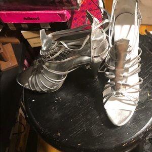 Metallic silver strappy heals